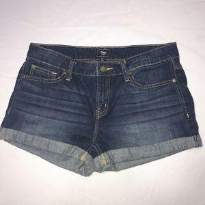GAP Denim whisker front wash shorts cuffed hems.